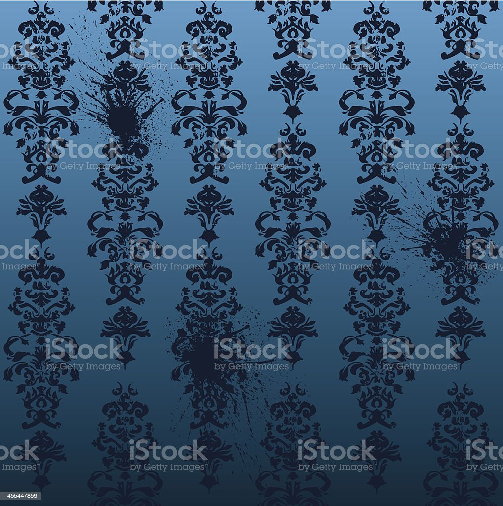 Seamless Damask Wallpaper with splats royalty-free stock vector art