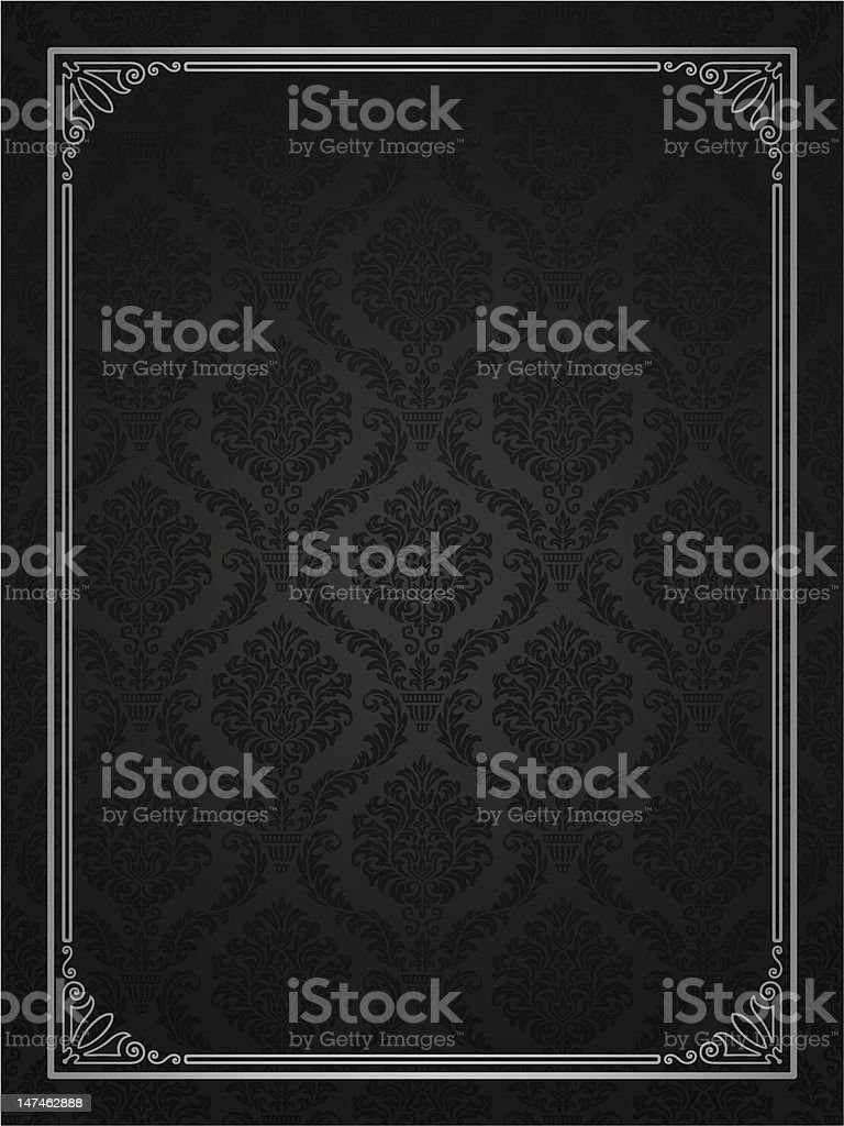 Seamless damask with ornamental frame vector art illustration