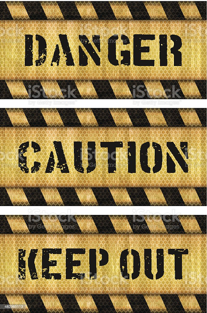 seamless danger warning signs banners vector art illustration