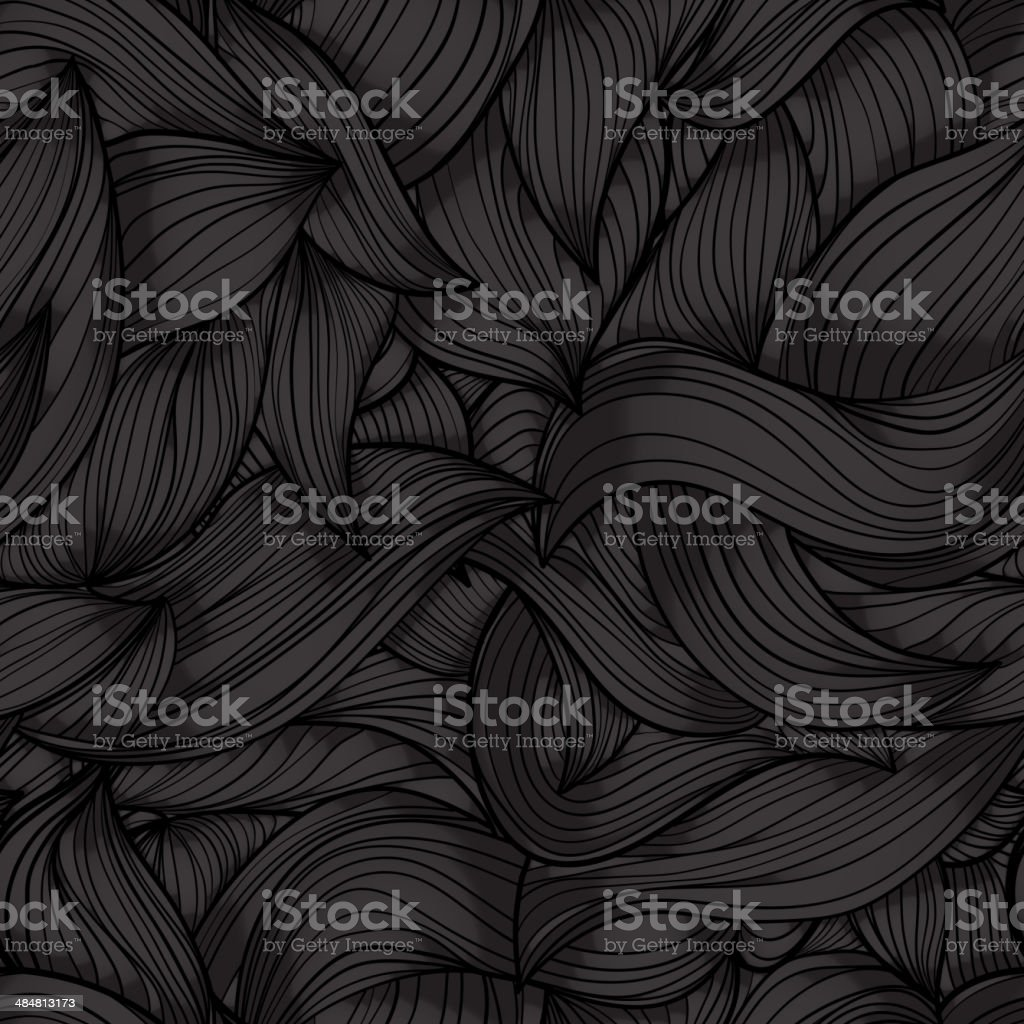 Seamless dark wave hand-drawn pattern royalty-free stock vector art