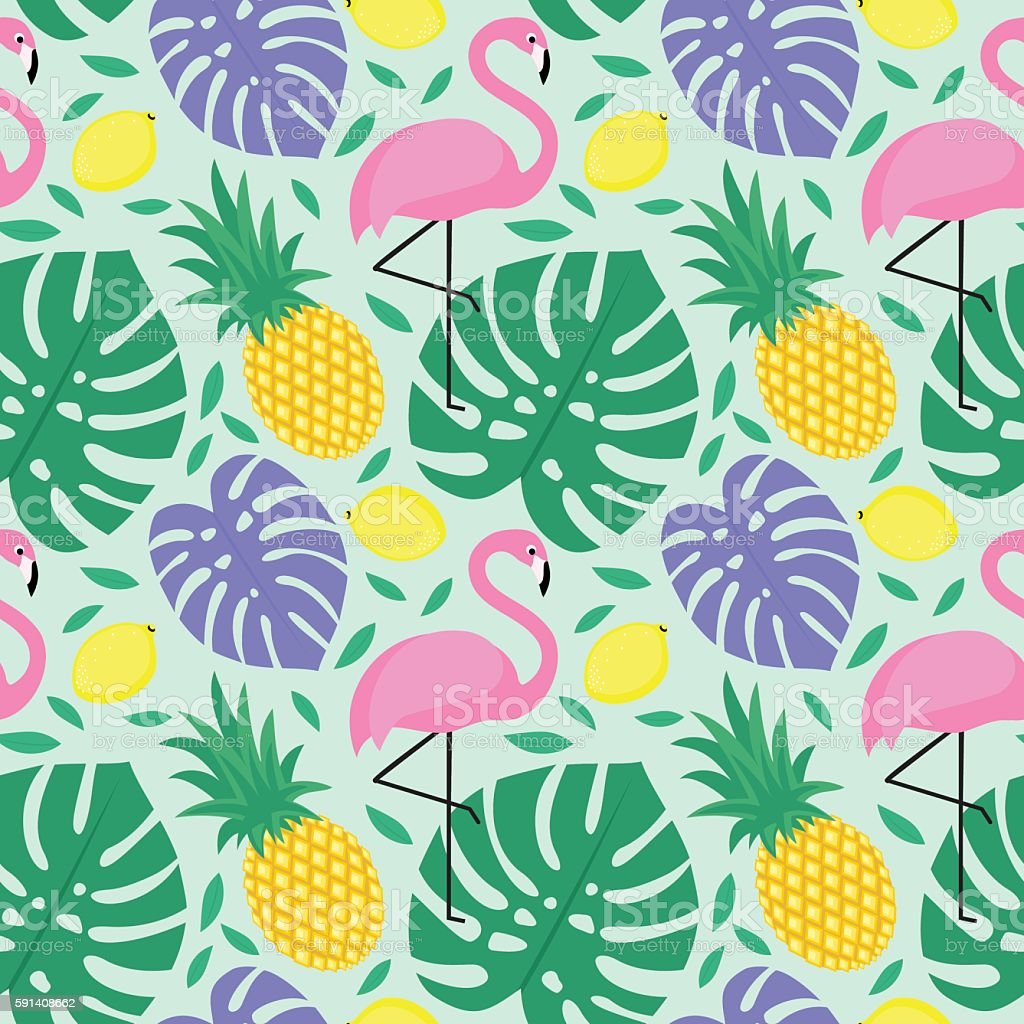 Seamless decorative background with flamingo, pineapple, lemons and palm leaves. vector art illustration
