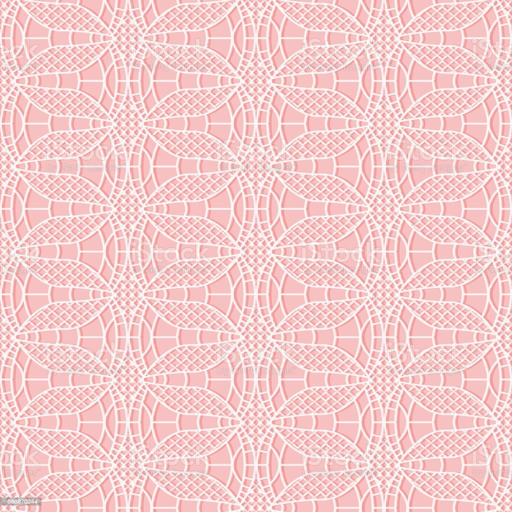 Seamless delicate lacy cloth. White mesh on a pink background. vector art illustration