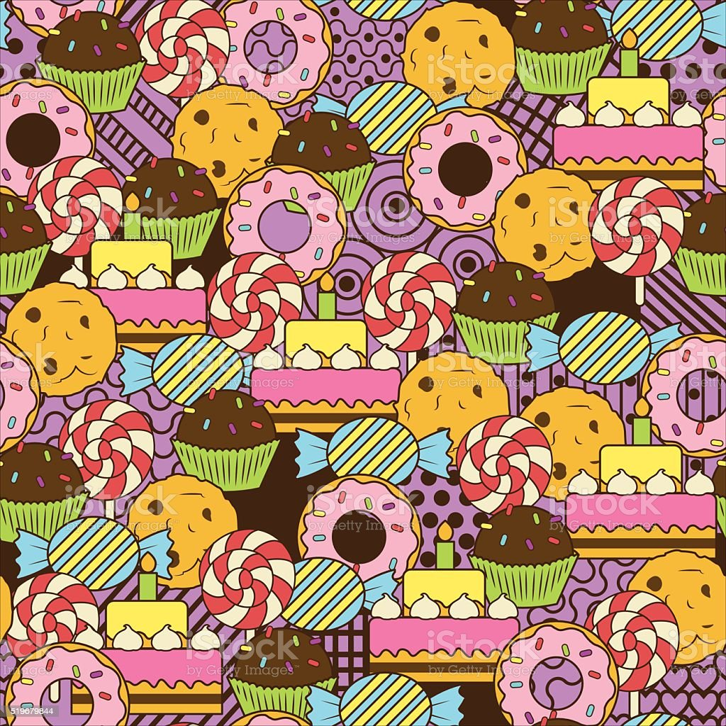 Seamless delicious sweets doodle pattern. vector art illustration