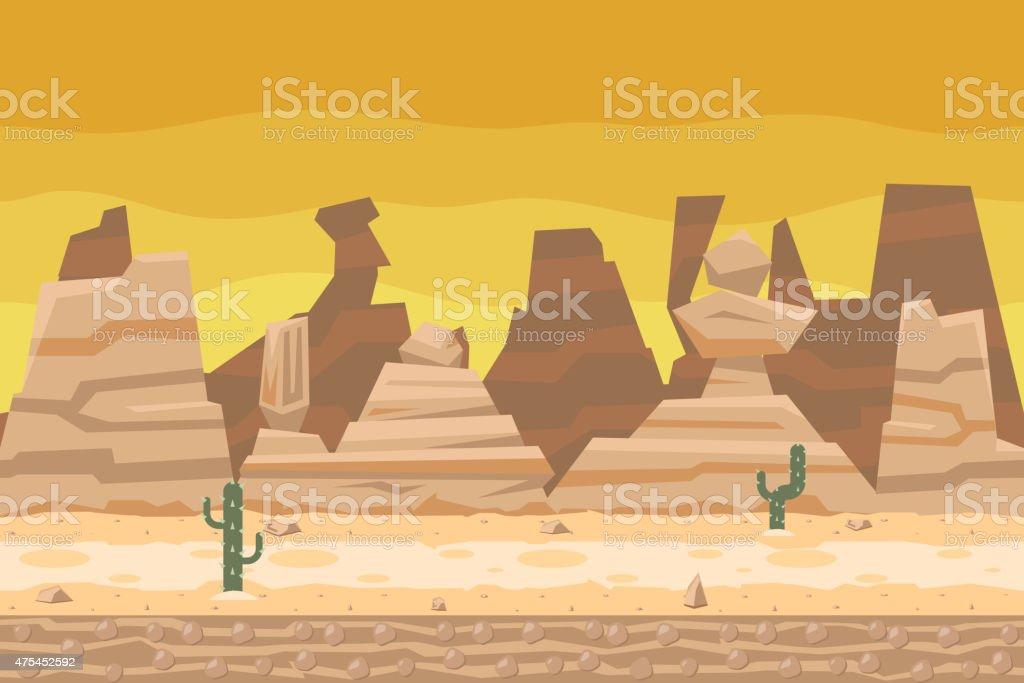 Seamless Desert Road Cactus Nature Concept Flat Design Landscape Background vector art illustration