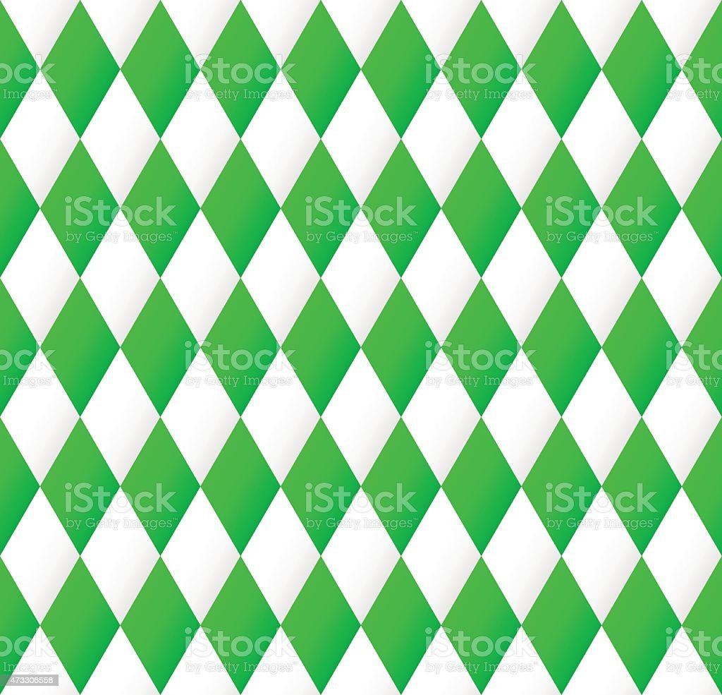 seamless diamond pattern in green and white vector art illustration