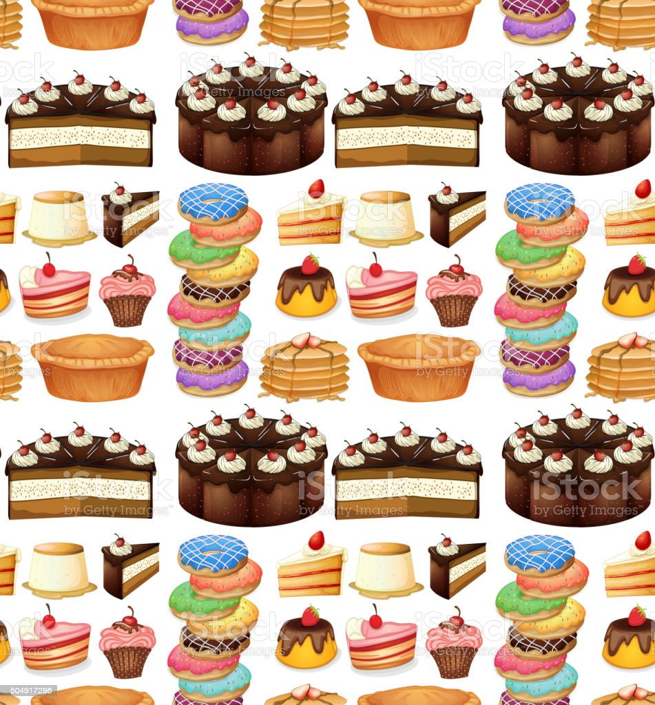 Seamless different kind of desserts vector art illustration