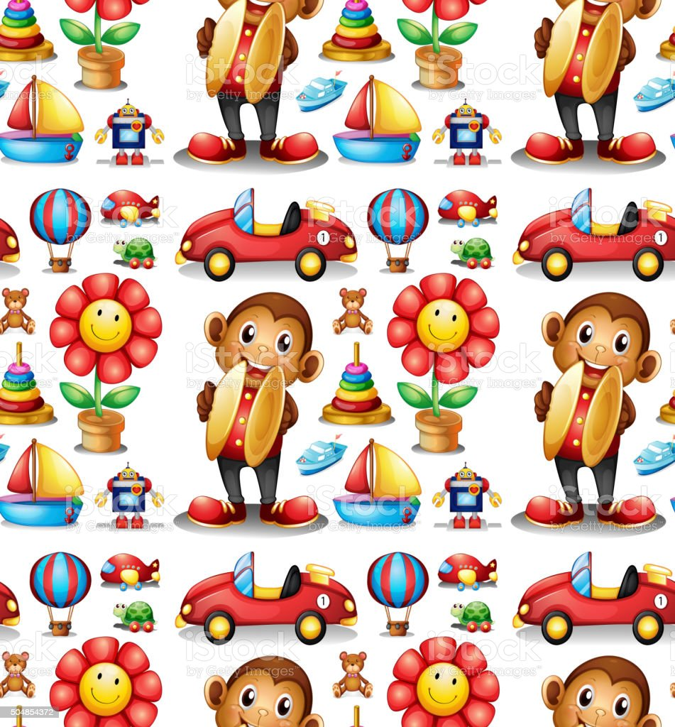 Seamless different kind of toys vector art illustration