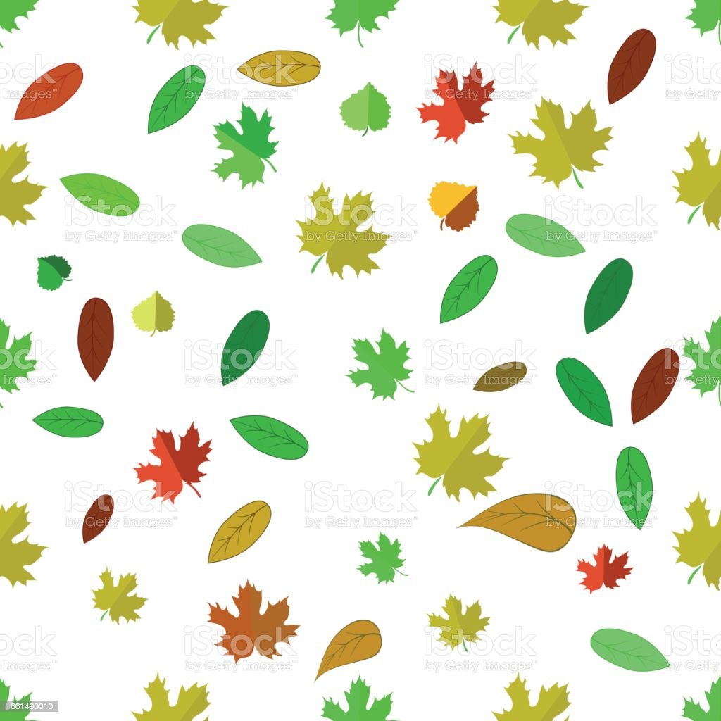 Seamless Different Leaves Pattern vector art illustration