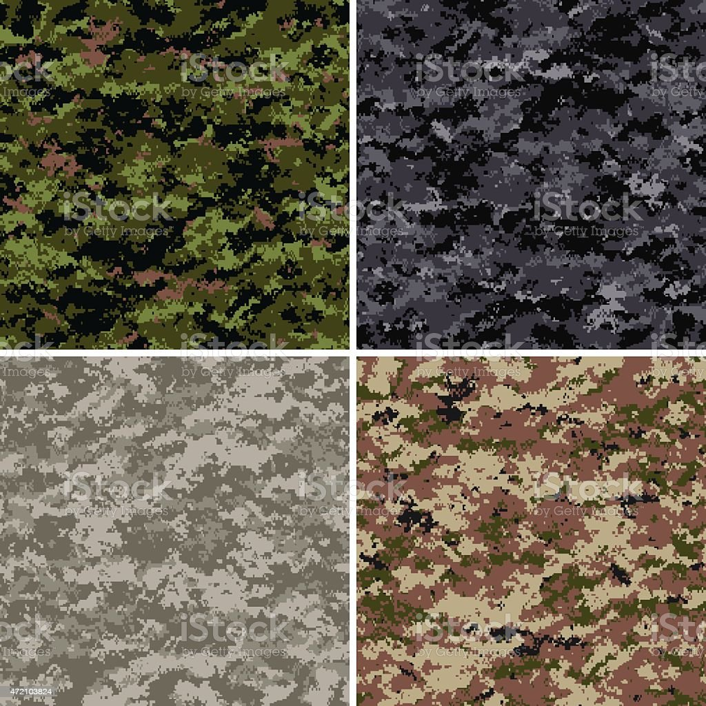 Seamless digital camouflage patterns vector art illustration