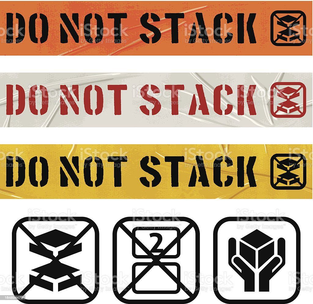 seamless do not stack duct tape banners royalty-free stock vector art