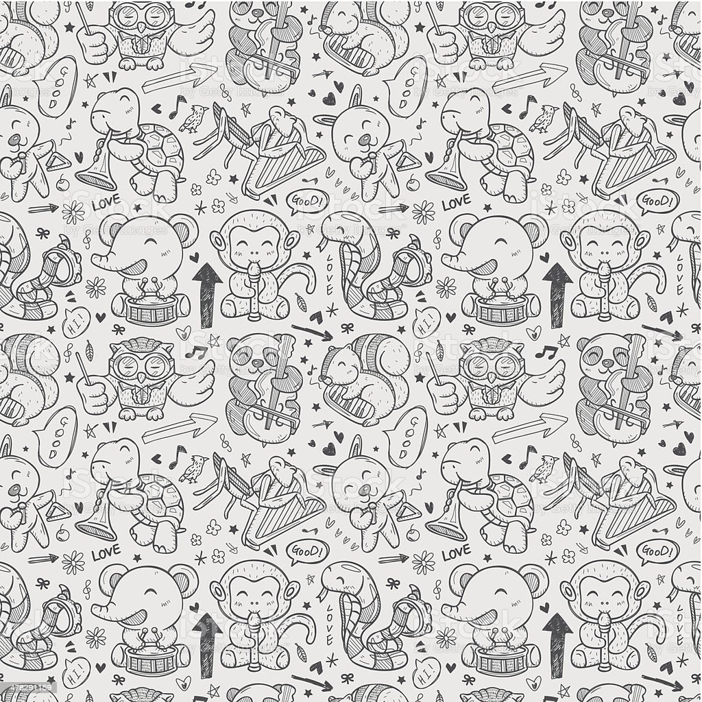 seamless doodle animal playing music pattern royalty-free stock vector art