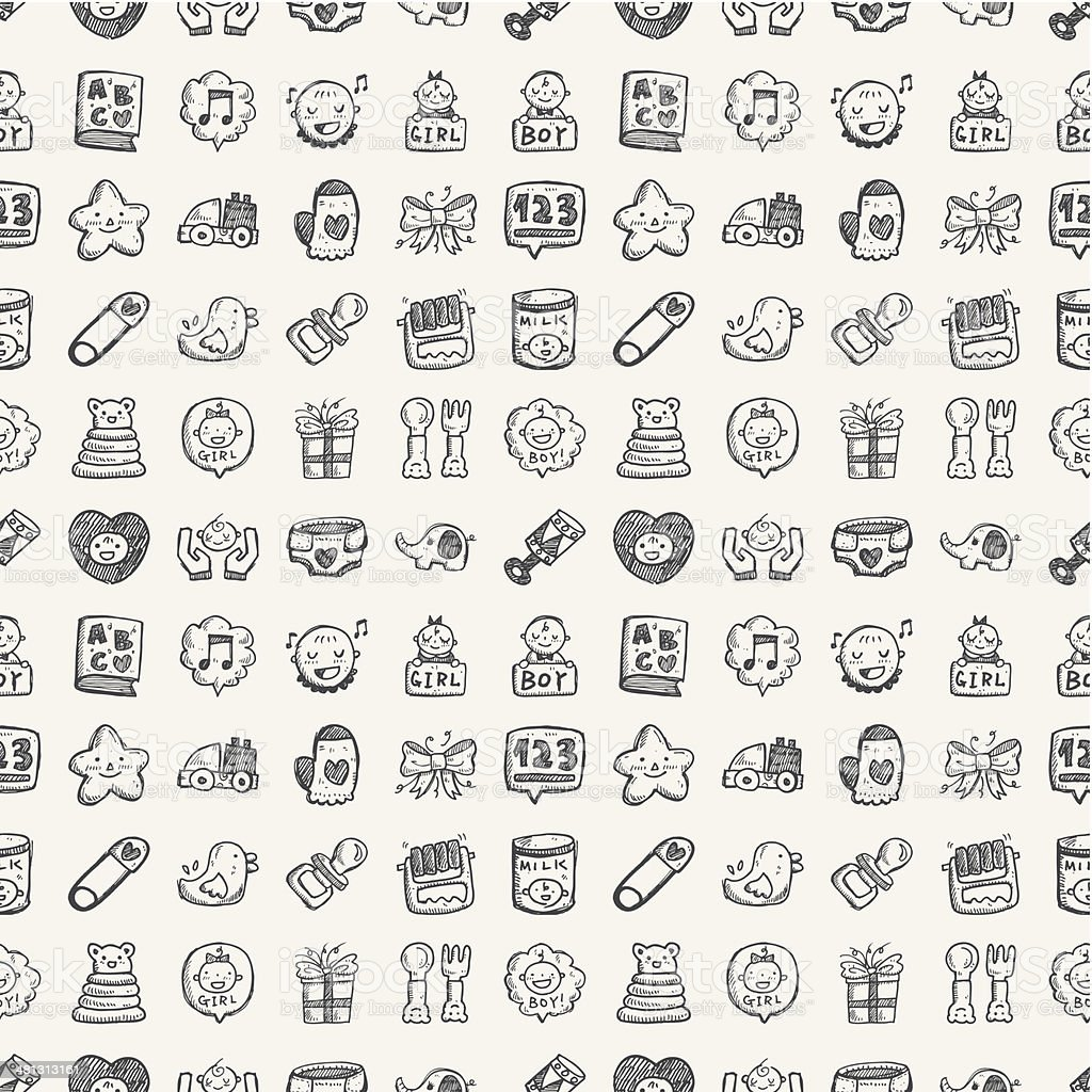 seamless doodle baby pattern vector art illustration