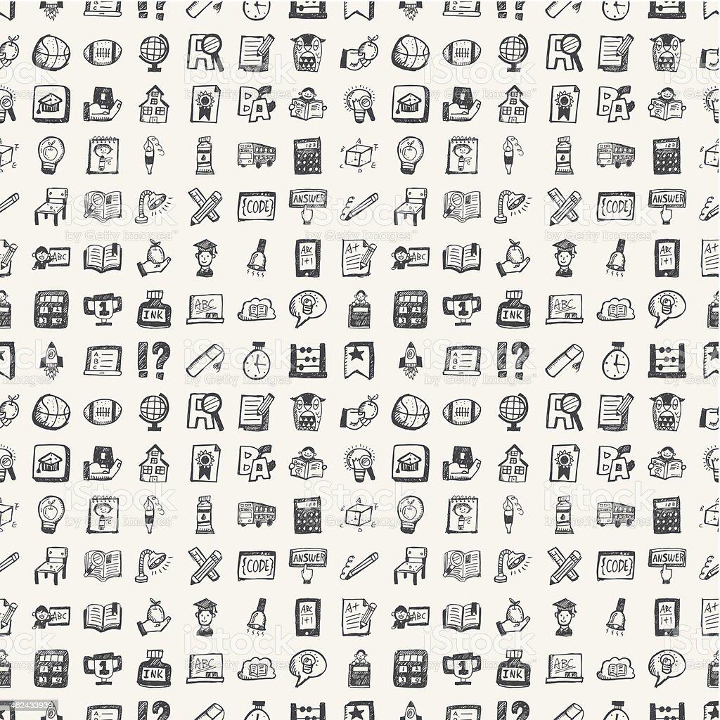 seamless doodle back to school element pattern background vector art illustration