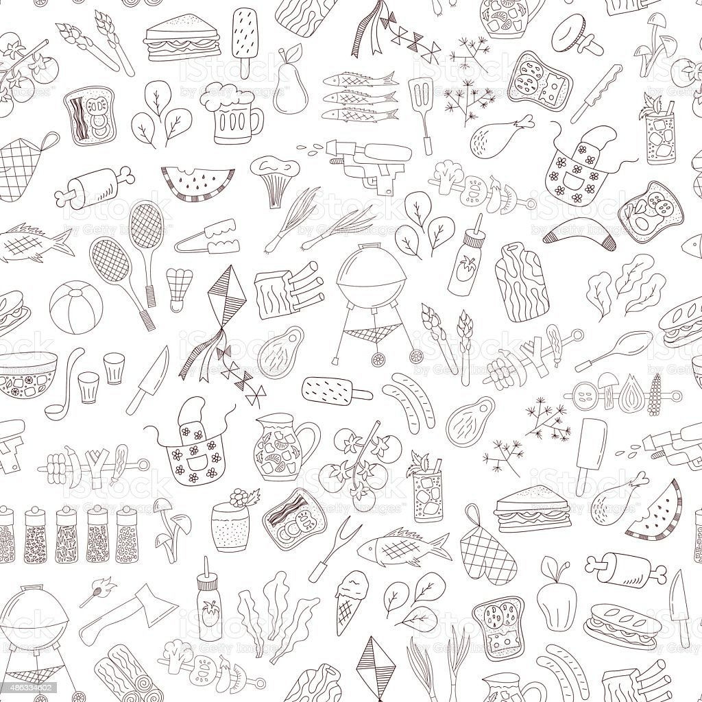 seamless doodle barbecue pattern vector art illustration