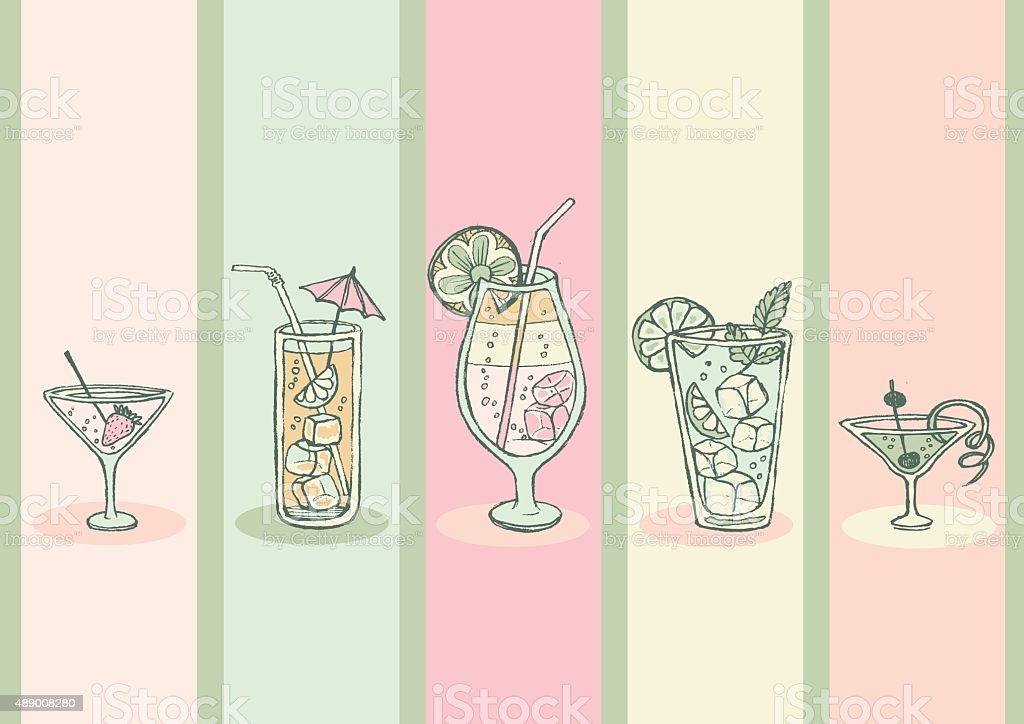 Seamless doodle cocktail pattern. vector art illustration