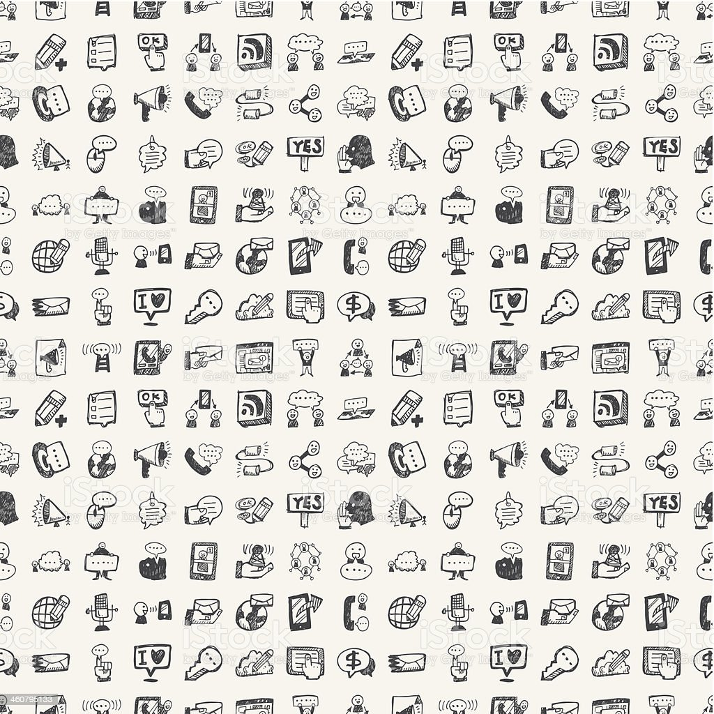 seamless doodle communication pattern vector art illustration