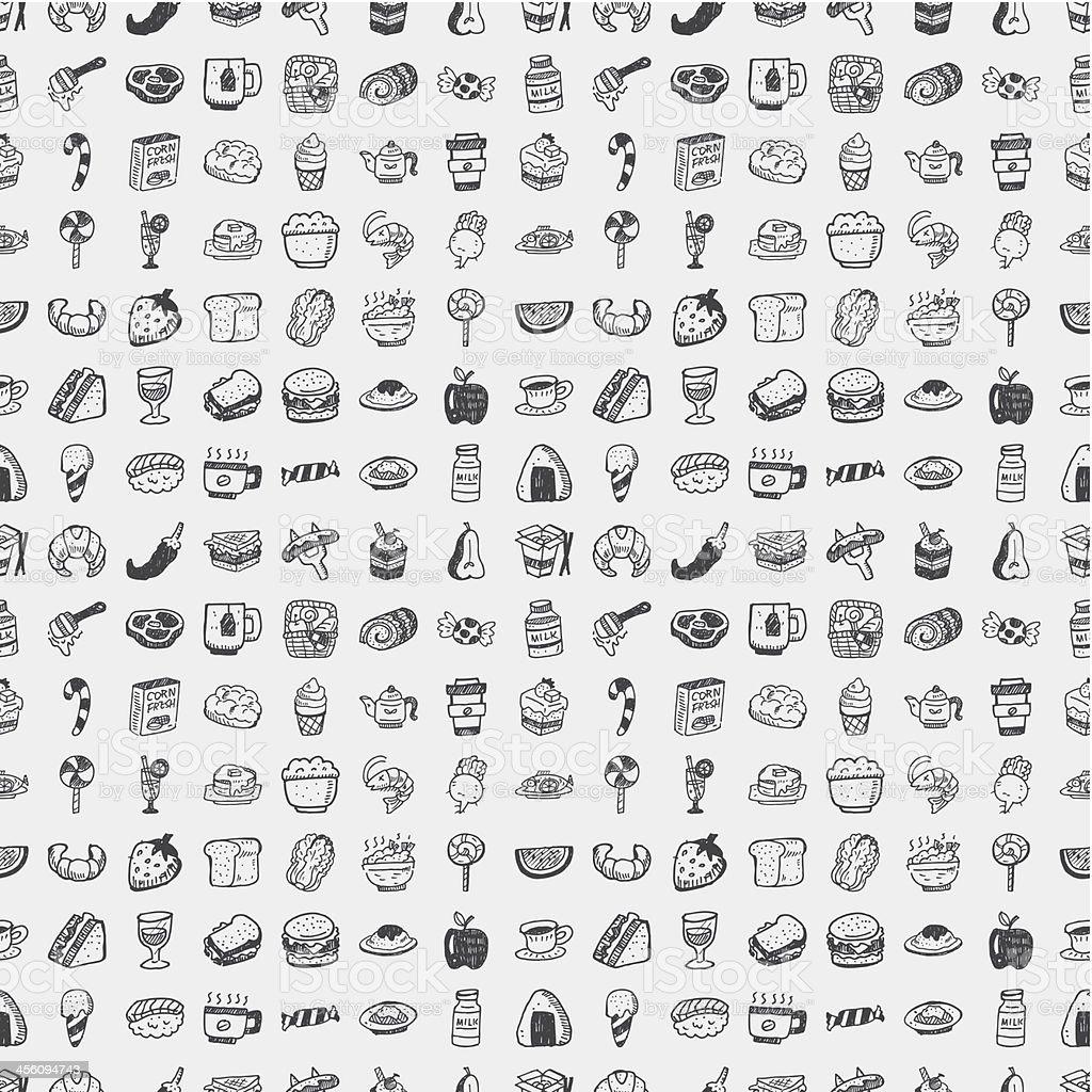 seamless doodle food pattern vector art illustration