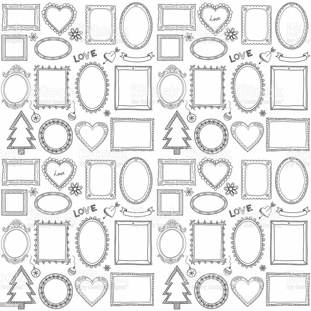 Seamless doodle frame set vector art illustration