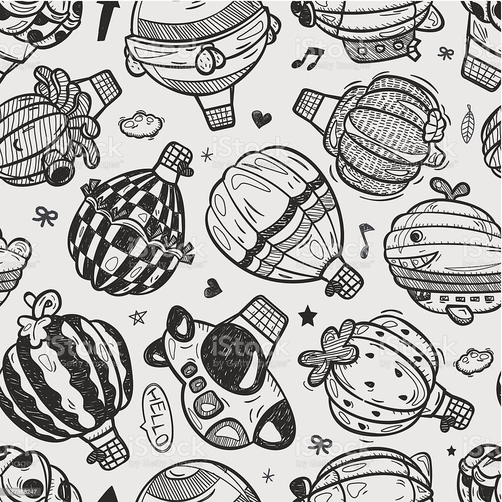seamless doodle hot air balloon pattern royalty-free stock vector art