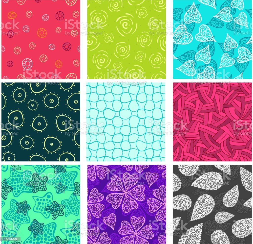 Seamless doodle patterns set. royalty-free stock vector art