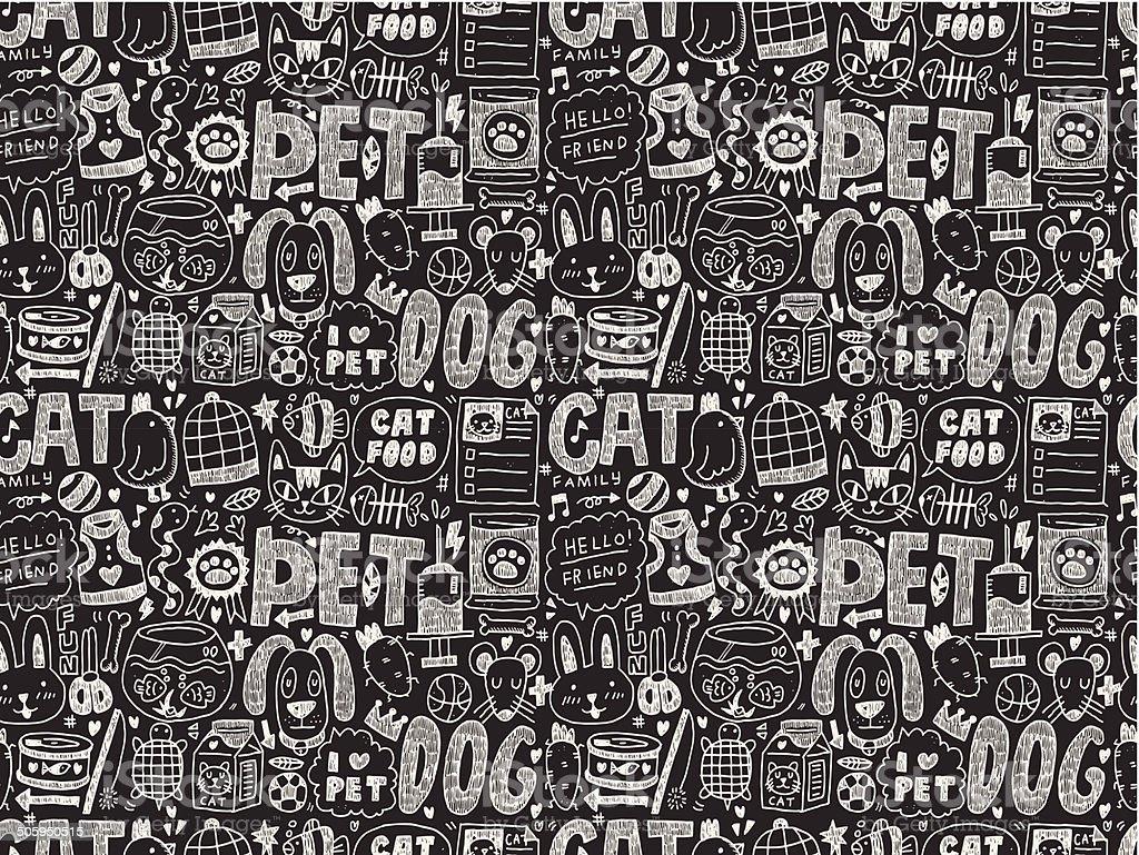 seamless doodle pet pattern royalty-free stock vector art