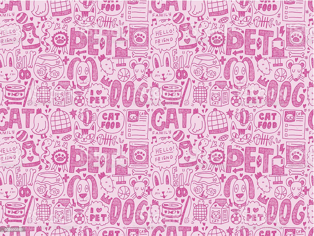 seamless doodle pet pattern royalty-free stock vector art
