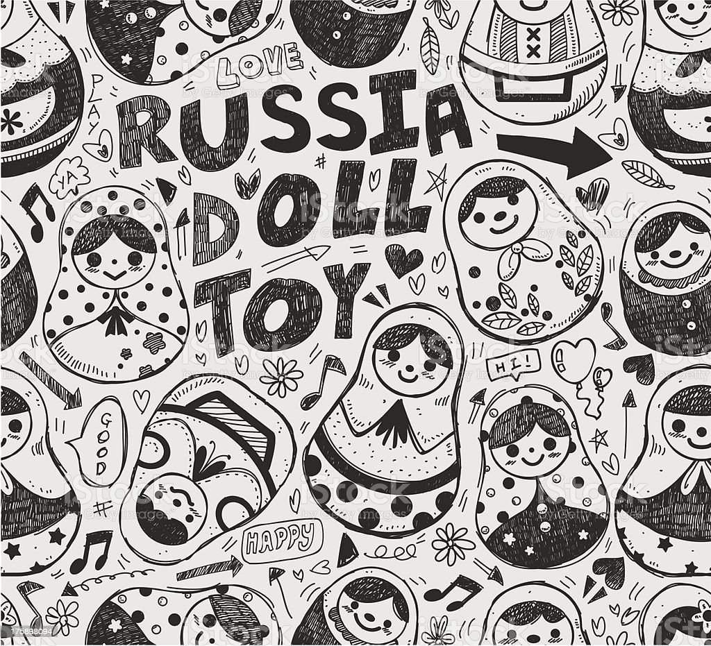 seamless doodle Russian Doll pattern royalty-free stock vector art