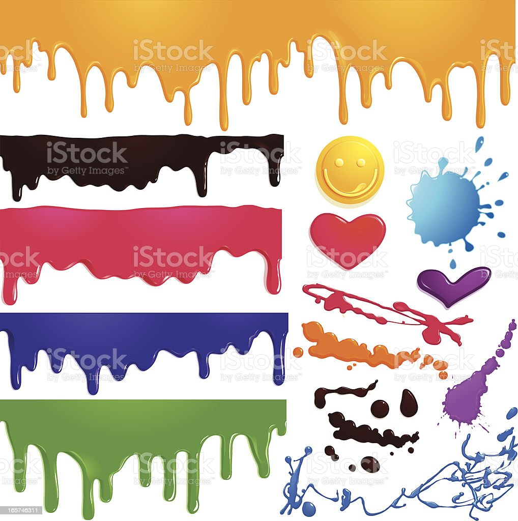 Seamless drips and elements royalty-free stock vector art