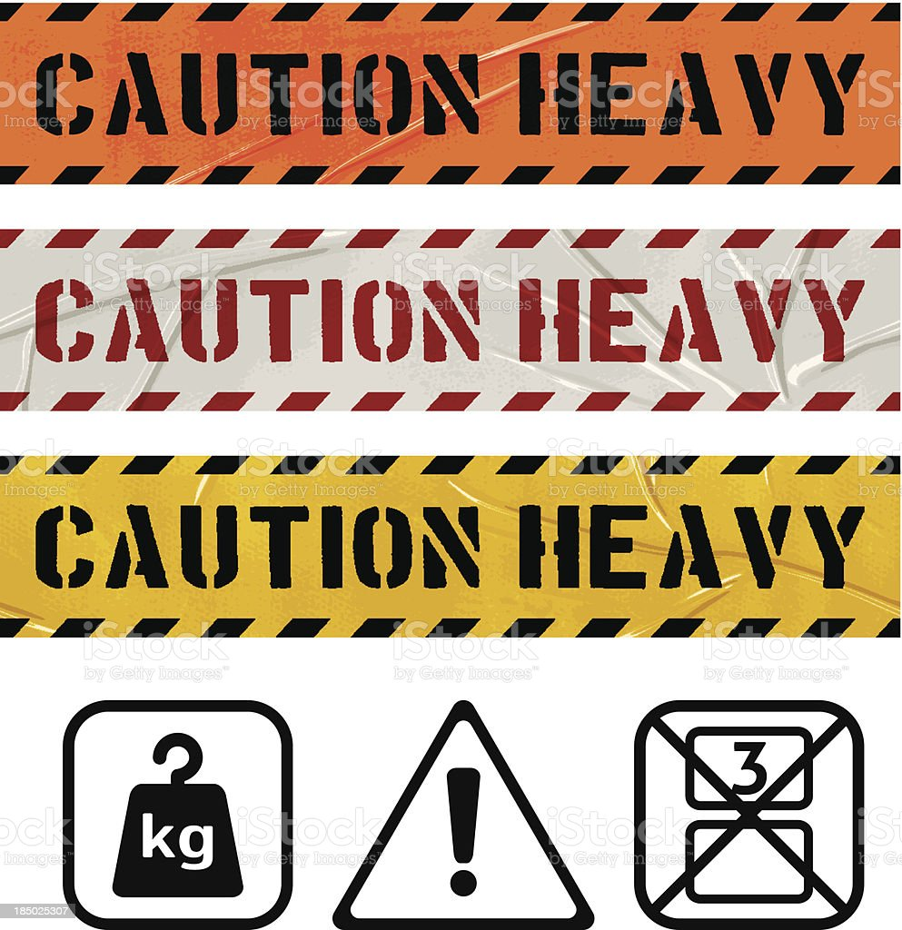 CAUTION HEAVY seamless duct tape banners royalty-free stock vector art