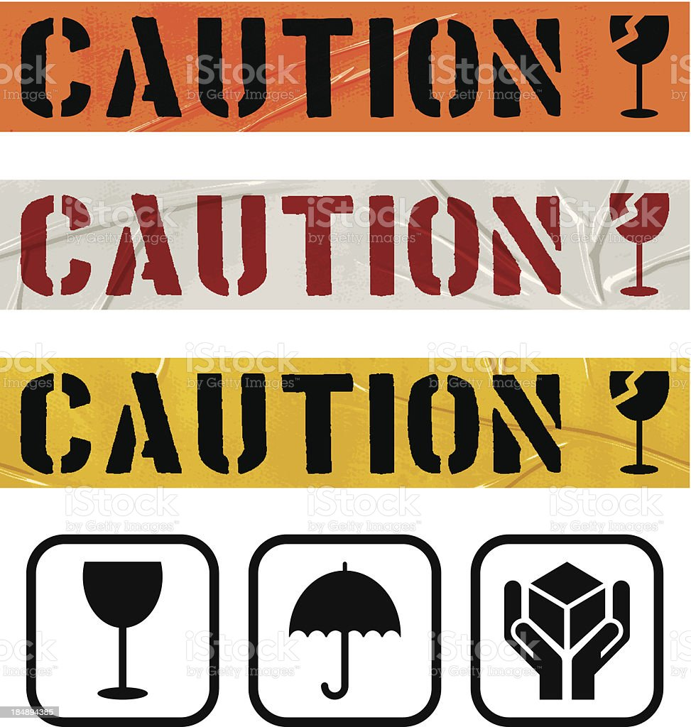 seamless duct tape sets_CAUTION GLASS royalty-free stock vector art