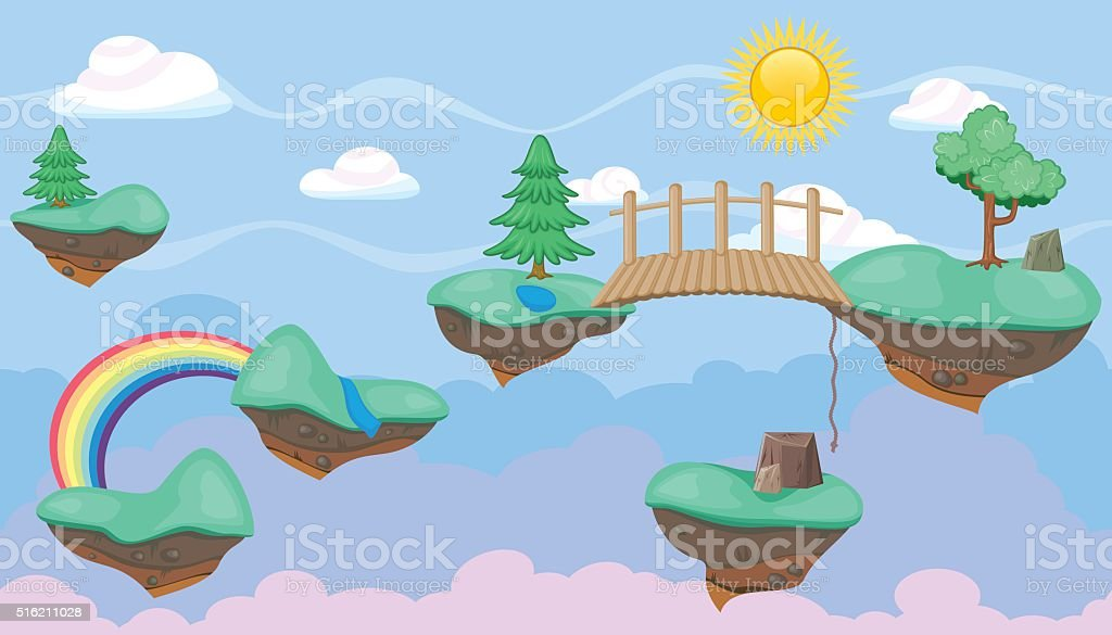 Seamless editable celestial cloudscape  islands and trees platformer  game design vector art illustration