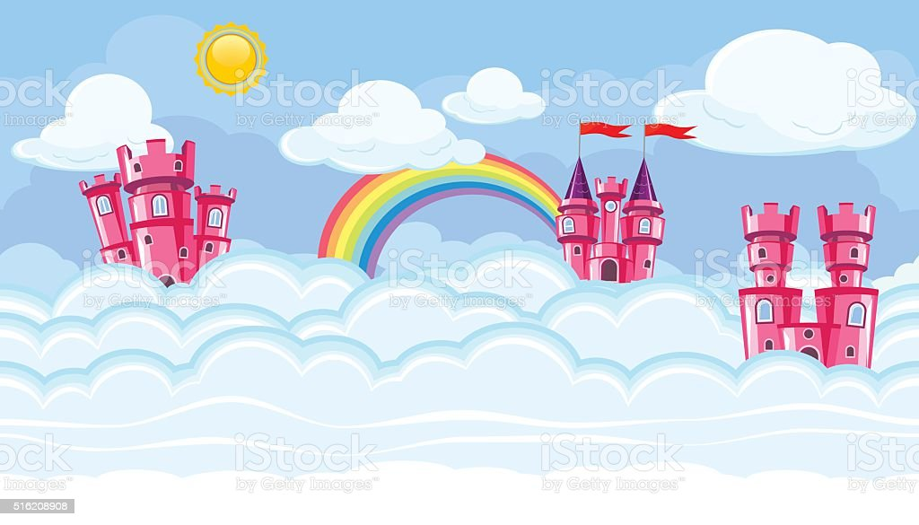 Seamless editable celestial cloudscape with pink castles for game design vector art illustration