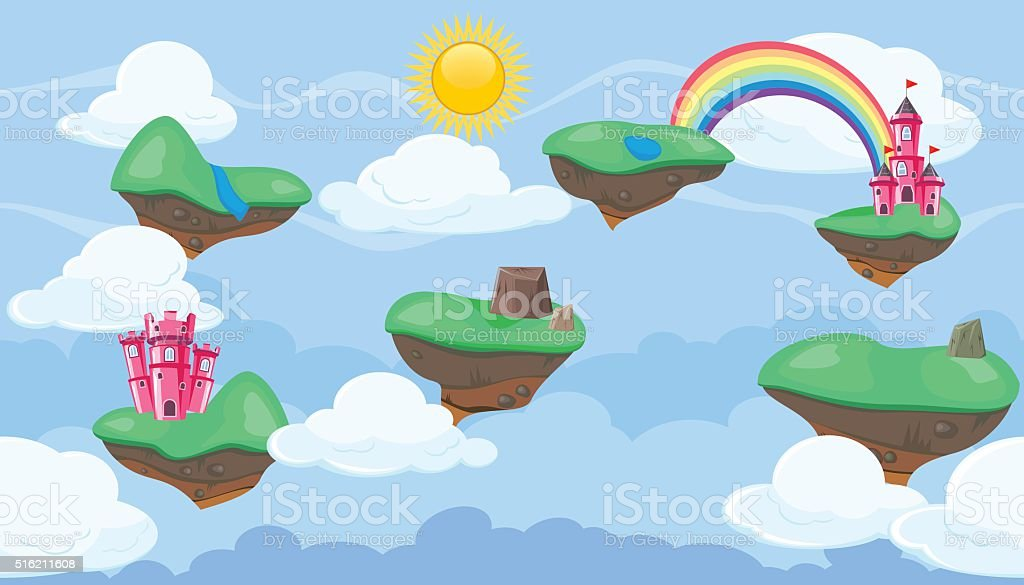 Seamless editable celestial landscape islands and castles platformer  game design vector art illustration