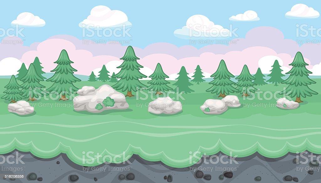 Seamless editable forest landscape for game design vector art illustration