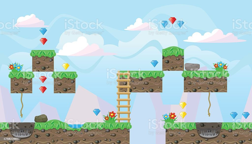 Seamless editable landscape for platform game design vector art illustration