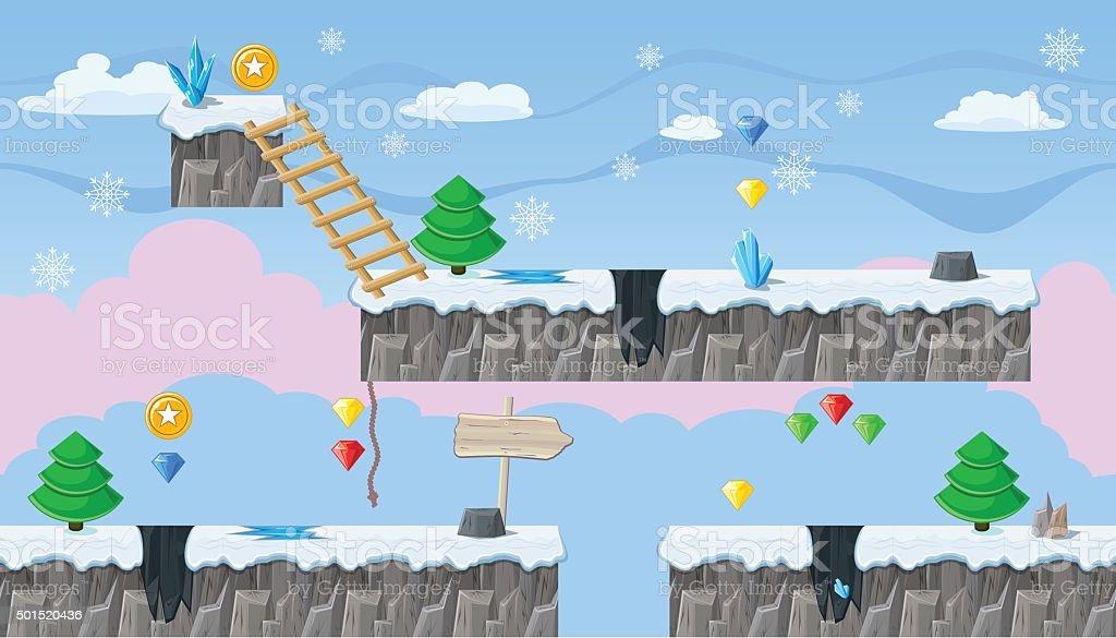 Seamless editable winter landscape for platform game design vector art illustration