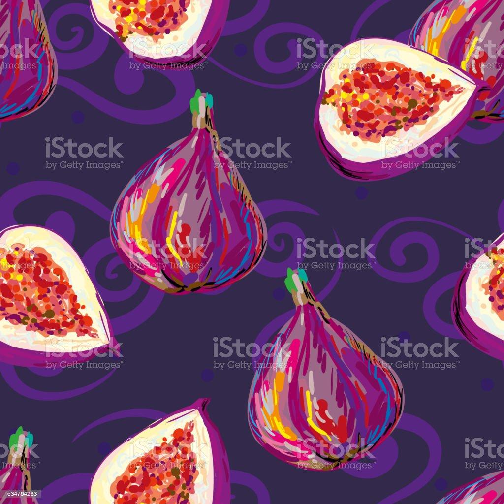 Seamless elegant pattern with tasty fig vector art illustration