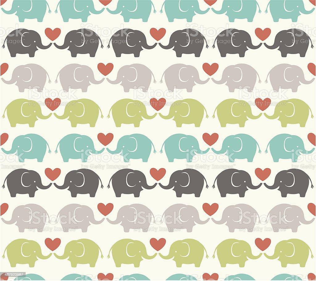 seamless elephant pattern vector art illustration
