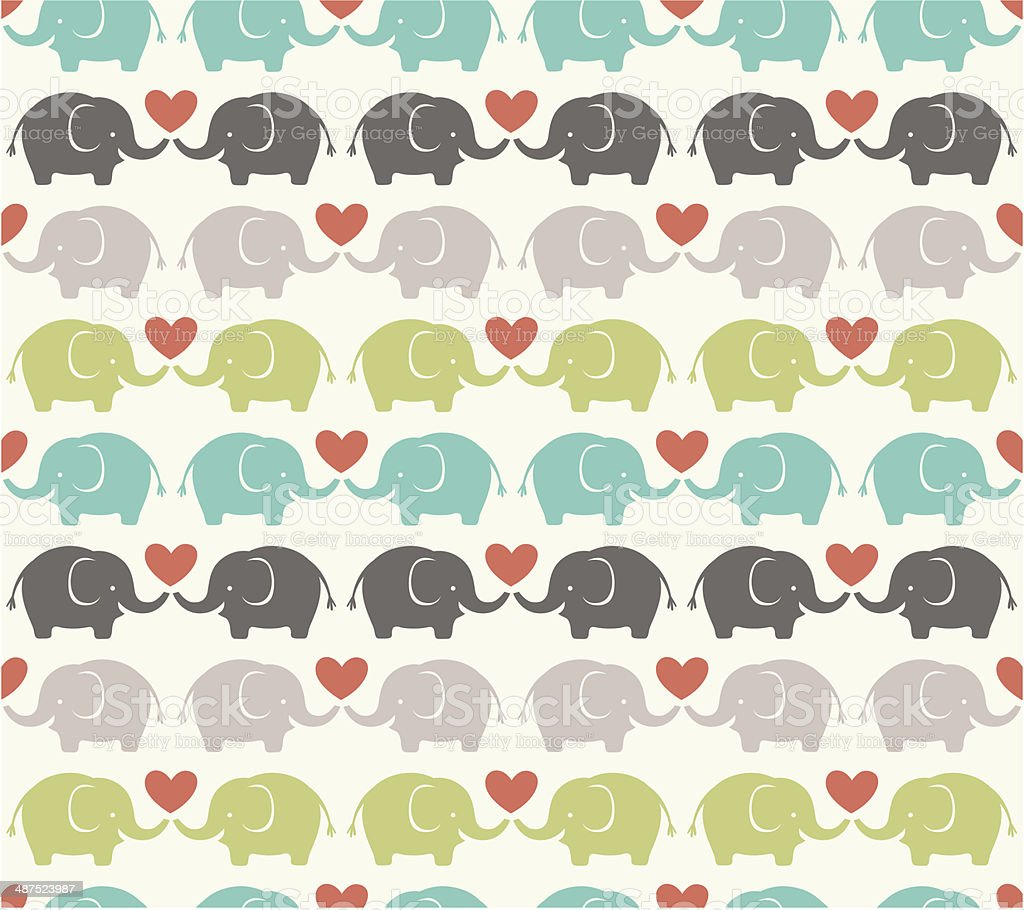 seamless elephant pattern vector art illustration