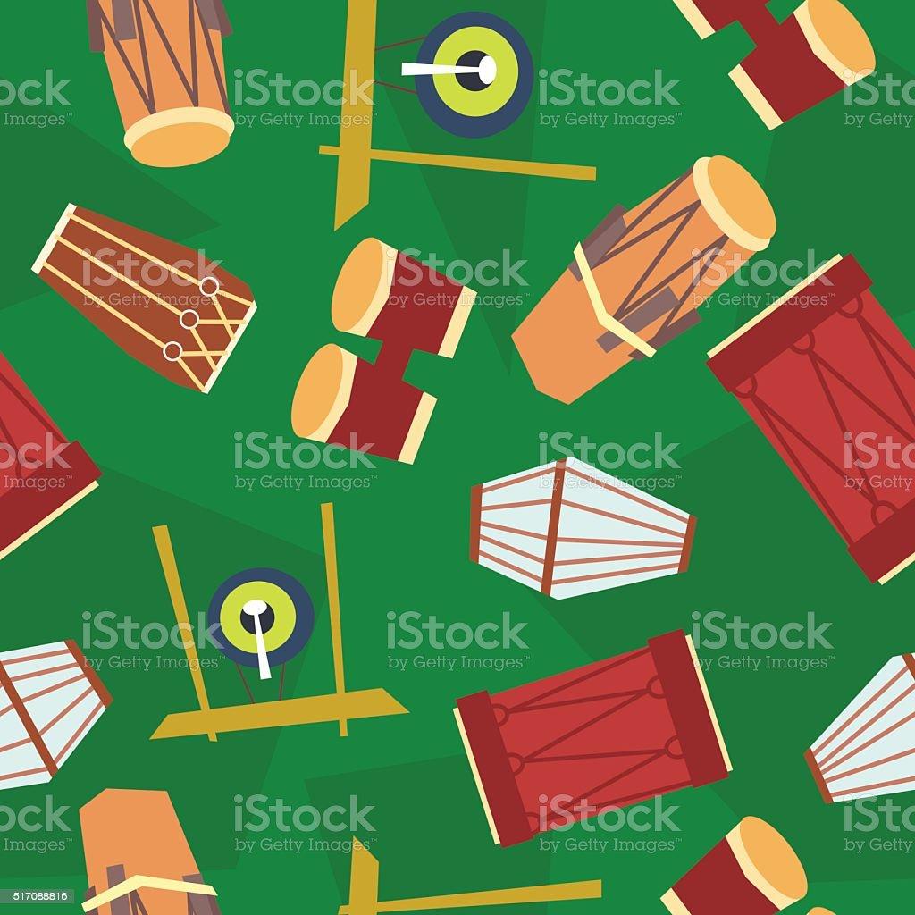 seamless ethnic drums pattern vector art illustration