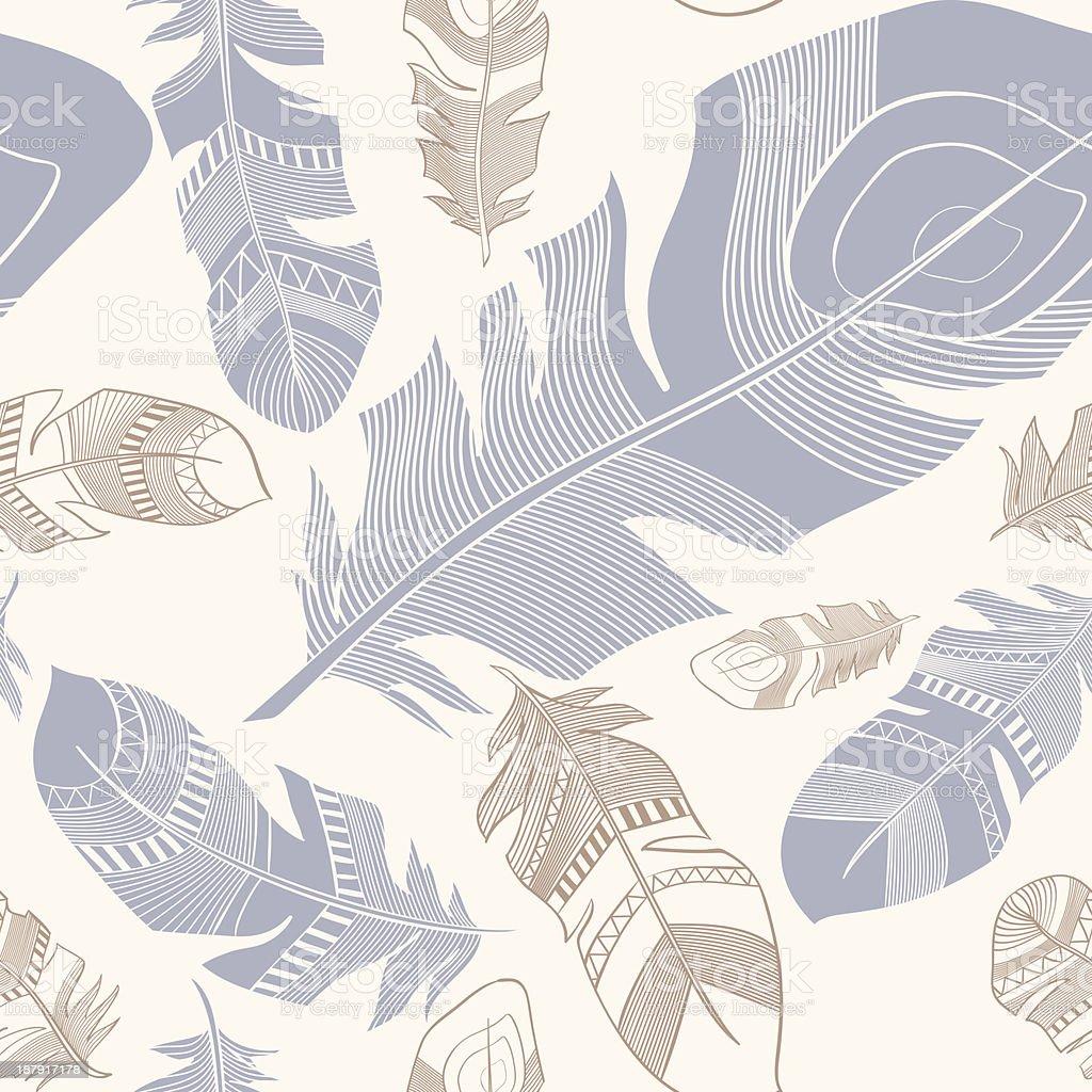 Sem costura padrão plumage étnica penas vetor e ilustração royalty-free royalty-free