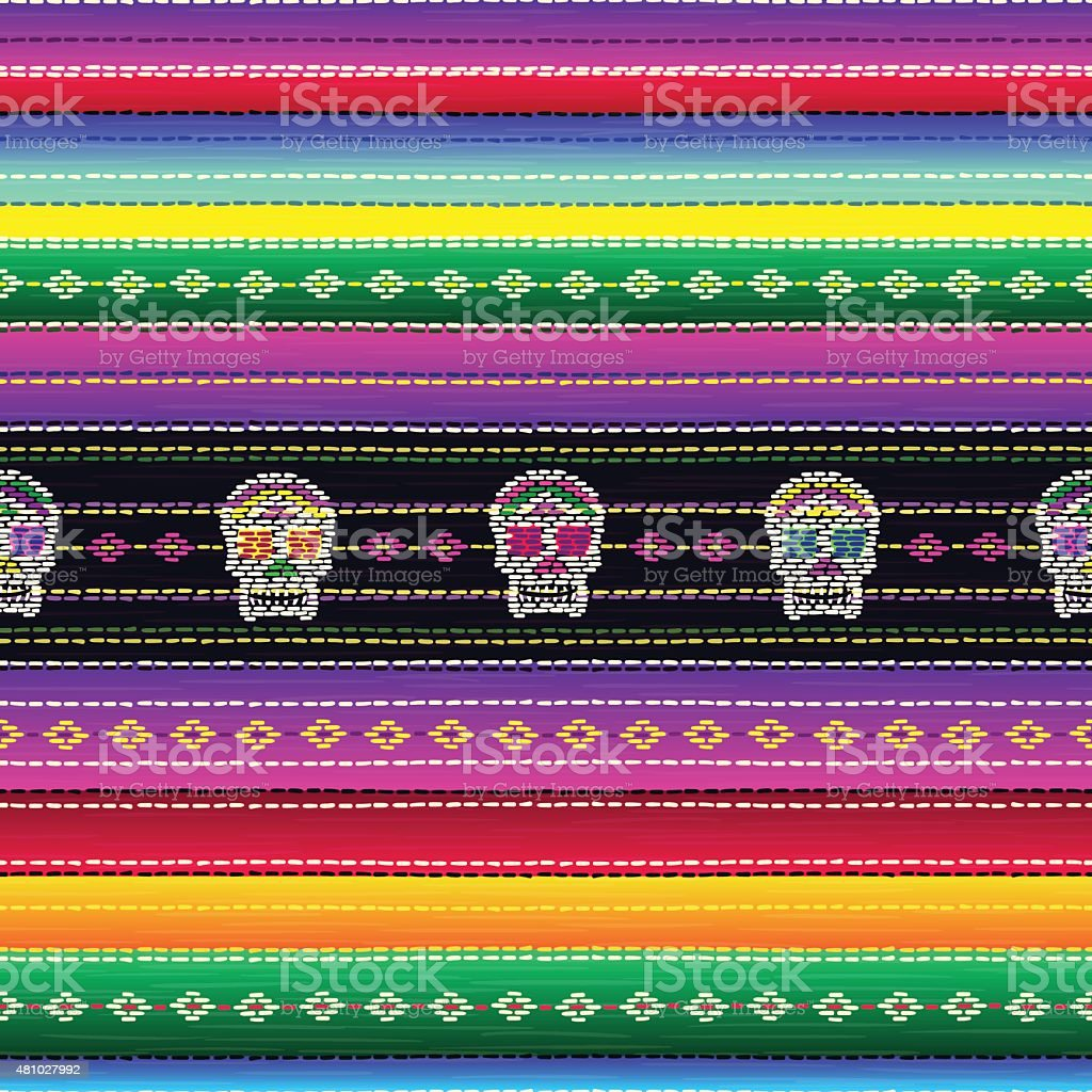 Seamless ethnic mexican pattern with colorful stripes and Catrina`s skull vector art illustration