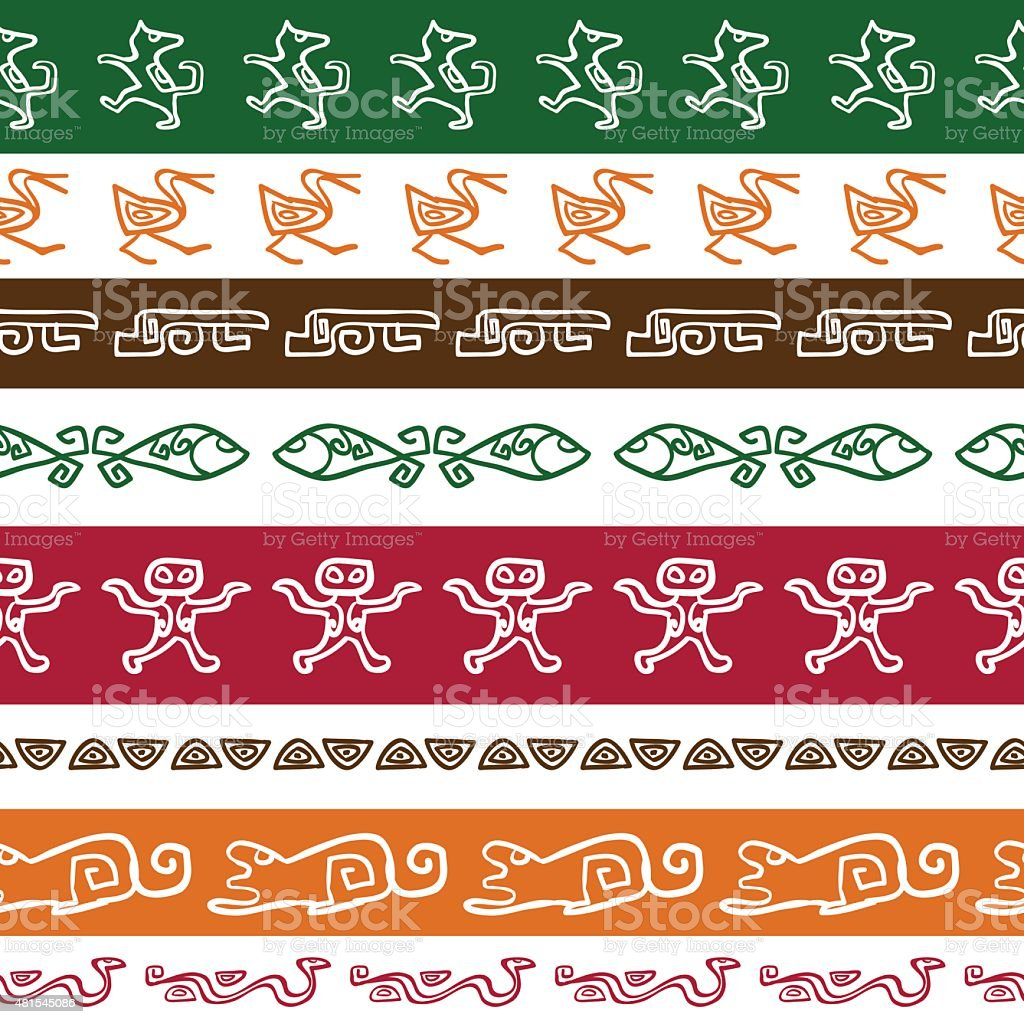 Seamless ethnic pattern with green, red, orange color animality ornament. vector art illustration