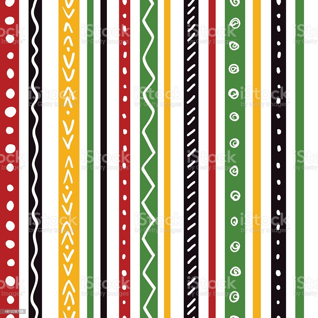 Seamless ethnic pattern with green, yellow, red color stripes vector art illustration
