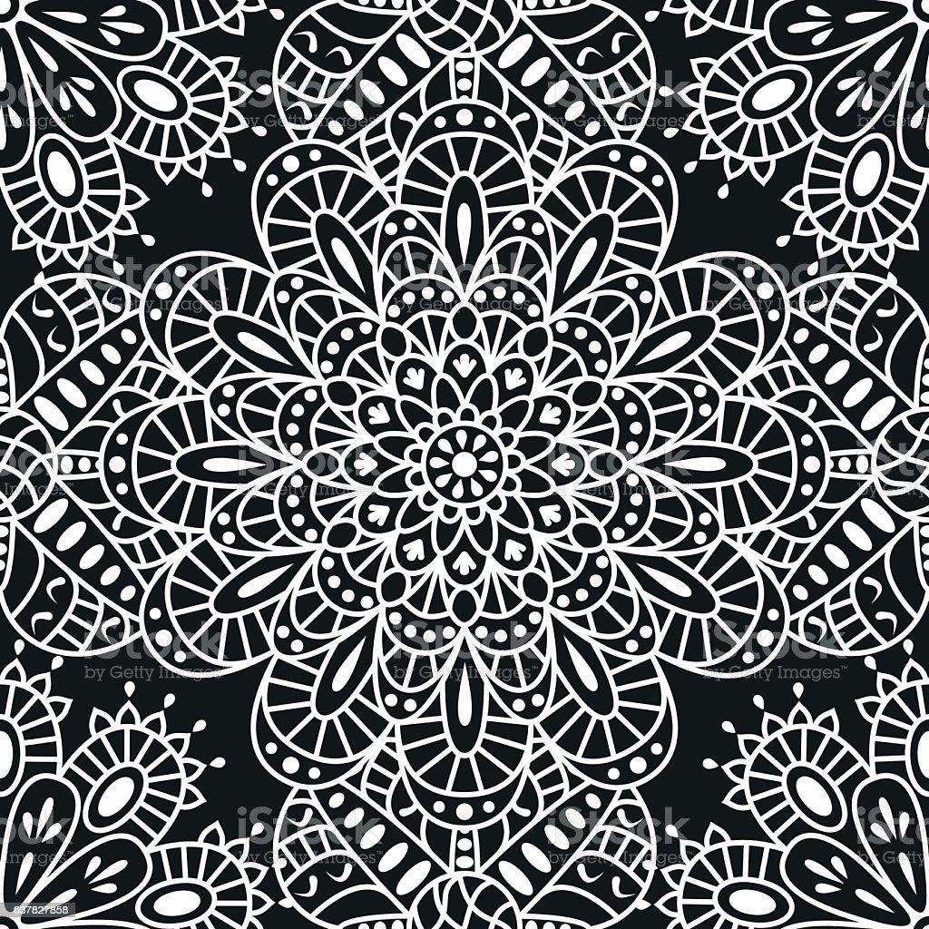 Seamless ethnic pattern with mandala vector art illustration