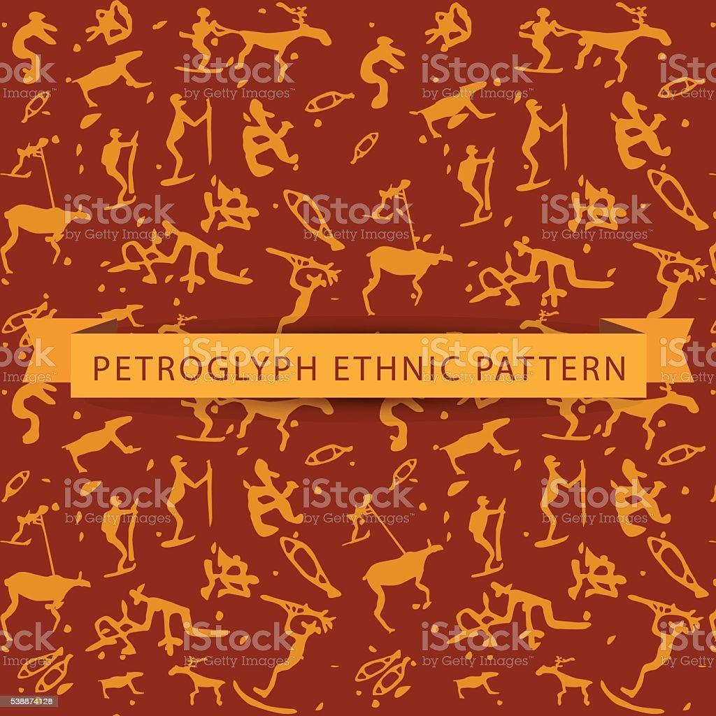 Seamless ethnic petroglyph saami pattern vector art illustration