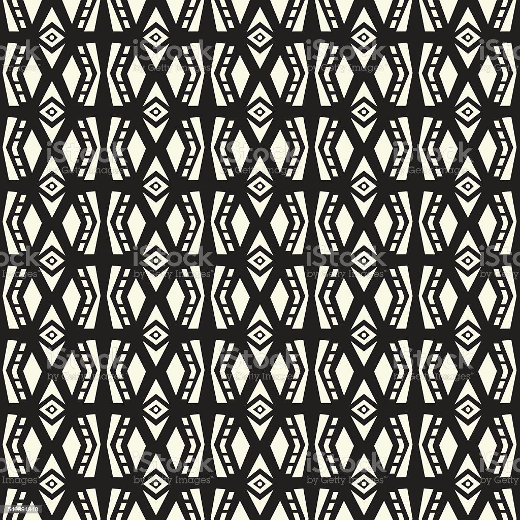 Seamless ethnic style vector texture pattern in monochrome backg vector art illustration