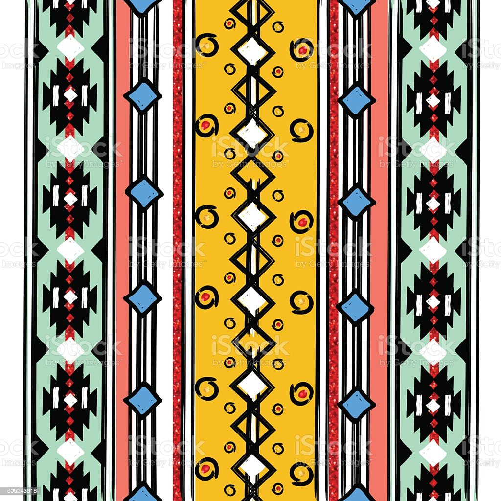 Seamless ethnic vertical pattern vector art illustration