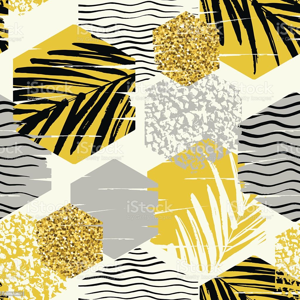 Seamless exotic pattern with palm leaves on geometric background vector art illustration