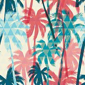 Seamless exotic pattern with palm on geometric background.